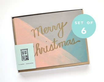 Christmas Card Set - Letterpress Merry Christmas Card - Holiday Card Set - Gold, Peach, Gray, Green