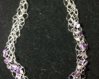 Amethyst Bead & Wire Crochet Necklace