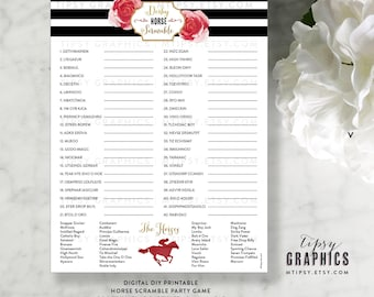 Derby Horse Scramble. Kentucky Derby Race Day Horses. Printable DiY Party Game. By Tipsy Graphics