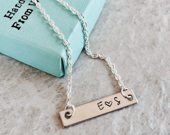 SALE personalized bar necklace custom jewelry monogrammed jewelry with initials gift for friend boyfriend and girlfriend Mr and Mrs heart