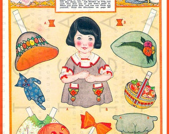 Art Deco HALLOWEEN Vintage Paper Doll Rare 1920's Paper Toy Download. Vintage Halloween Printable Dress Up Doll.