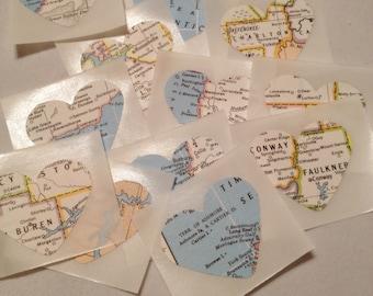 Heart Atlas Stickers, Map Stickers, Envelope Seals, Embellishments