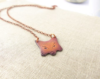 Copper Animal Pendant - Fox Jewellery - Woodland Animals - Copper Fox - Birthday Gift for Her - Cute Animal Necklace