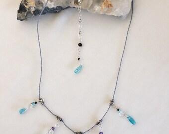 Amethyst & Herkimer Diamond Necklace #40