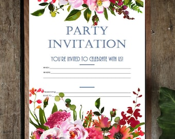 PDF Printable Invitations: Blush and Coral