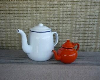 Set of 2 Vintage Metal Enamel Teapots, White and Orange Teapot, Rustic Farmhouse Decor