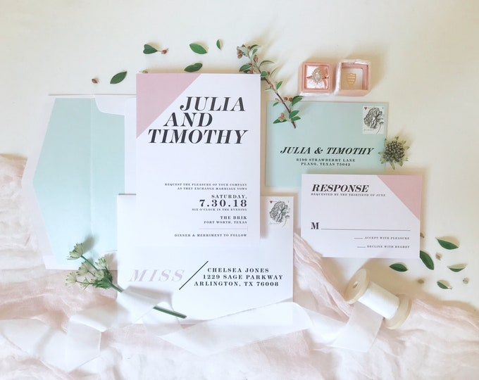 Minimal Modern Simple Classic Black and White with Pink Blush and Blue Wedding Invitation, RSVP & Address Printing - Other Colors Available