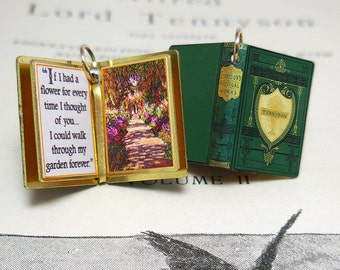 Love quote by Alfred Lord Tennyson - Miniature Book Shaped Charm Quote Pendant - for charm bracelet or necklace. Custom available!