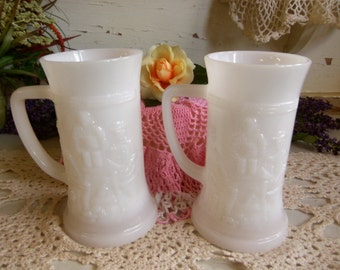 2 Vintage White or Milk Glass Steins Vintage Wedding   B203