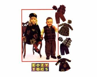 1990s Toddlers Dress Vest Pants Hats McCalls 9603 Sewing Pattern Size 1 - 2 - 3 UNCUT