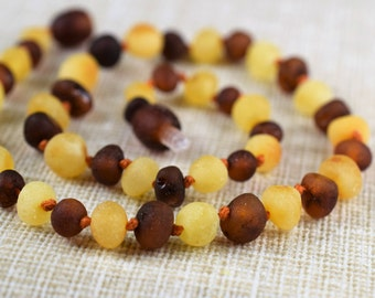 Baltic Amber teething necklace for your baby. Raw Unpolished amber Handmade knotted. Multicolor 100% Genuine Baltic Amber
