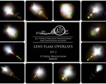12 Fine Art Digital LENS FLARE Overlays Set 3
