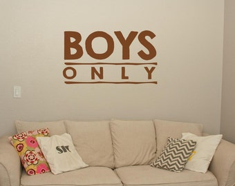 Boys Only Brother Wall Quote - Wall Decals - Wall Quote Decals - Brother Quotes - Wall Murals - Boys Room Decor - Door Decals