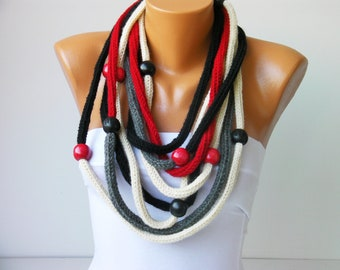 crochet lariat scarf knit chain necklace scarf with beads