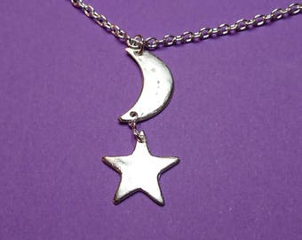 Silver precious metal clay Crescent moon and star celestial silver clay drop pendant, jewellery, necklace, fashion, gift