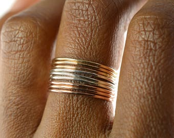 Skinny Ring Set of 9, Ring Threads, Mixed Stackable Ring, Gold Silver Rose Gold