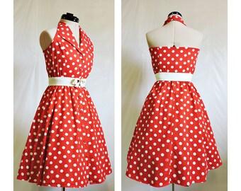 Red 50s Polkadot Rockabilly Dress