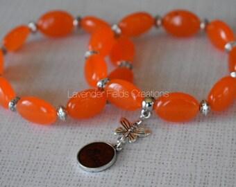 Orange Jade Stretch Bracelet Duo with Earrings (201845B)