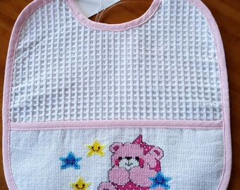 Pink Teddy bear baby bib