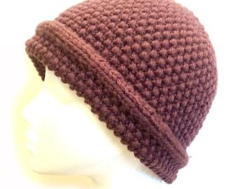 Moss Stitch Hat Knitting Pattern WM2024