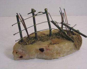 Metal & Rock Sculpture, Country Scene, Broken Fence, Birds, Country Chic Scene, Vintage Signed Jasai Brutalist