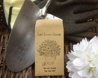 10 x Personalised Wedding Favour Seed Packets - 'Let Love Grow - Vase 2'