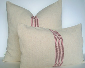 Red Grain Sack Look Pillow Cover Red Farmhouse Pillow Cover Red Stripe Grainsack Pillow 0