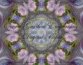 Digital Art -  with a Stained Glass Kaleidoscope  Pattern - for Decorative Paper, Transfers, Cards, Scrapbook - #85B