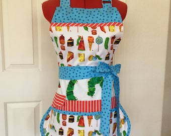 Very Hungry Caterpillar Sassy Vendor Apron,  Full Apron, 6/8 pockets, Teachers Apron,  great for Sewing, Farmers Market, Gardening, Cleaning