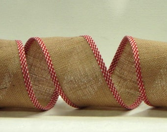 Wired Burlap Ribbon ~ 2.5 inch  Natural Blended Burlap Ribbon Red & White Checked Edges ~ Great for Wreaths, Bows or Home Decor ~ 3 Yards