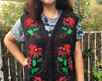 Ugly Christmas sweater, knit vest, XL, embroidered beaded sweater, poinsettias, black, red, green, sweater