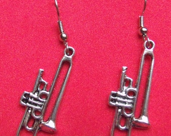 Trombone earrings, stainless steel ear wire,Tibetan  silver, finished on both sides.