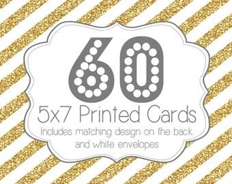 60 PRINTED INVITATIONS and white envelopes