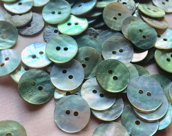30 Green Aqua Mother of Pearl Buttons 24L 15mm for Knitting, Jewelry, Garments, Crafts  BU 167