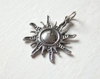 Silver sun pendant etsy sterling silver sun pendant one 925 silver sun pendant 23x25mm thai silver sun mozeypictures Images