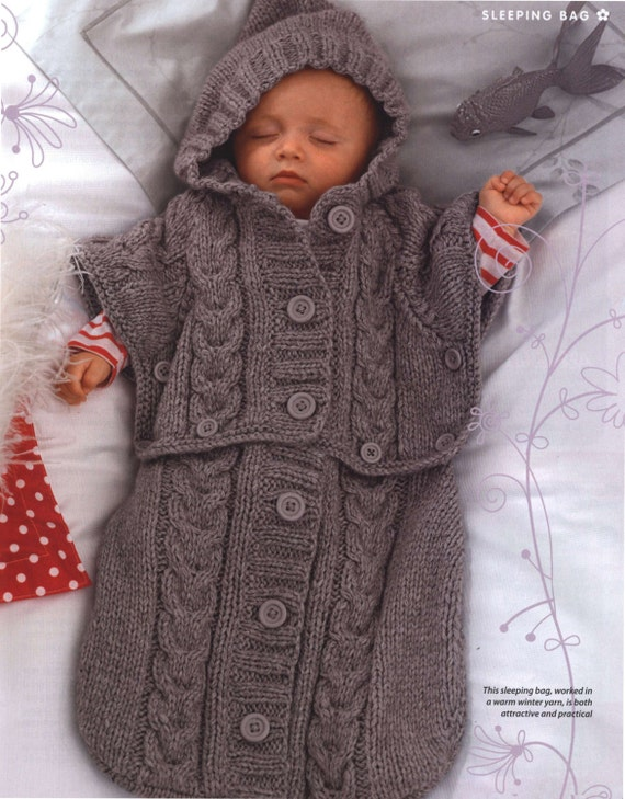PDF Knitting Pattern for a Baby\'s Sleeping Bag/Sack or Cocoon in ...