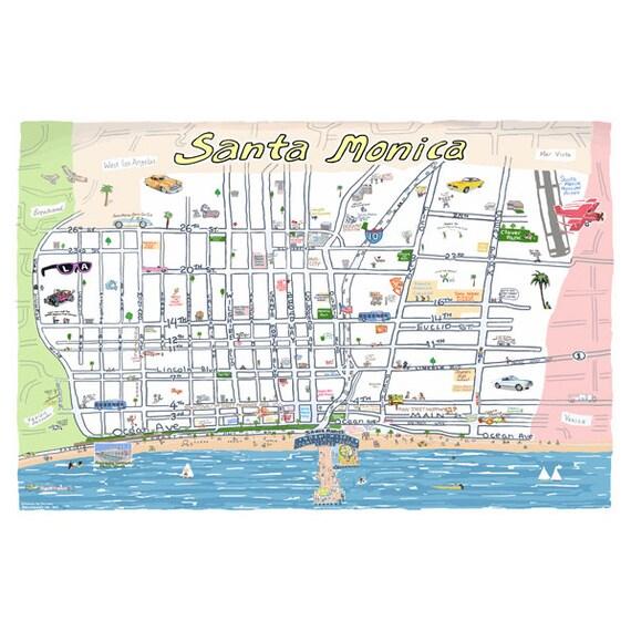 Santa Monica CA Map Print HandDrawn California Art Beach