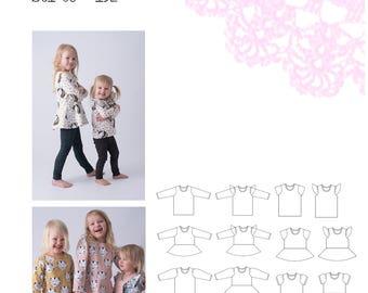 PDF- mönster Fun and free - tröja och peplumtopp med olika ärmar 80-152; Fun and free sweater/peplum sizes approx. 12 months- 14