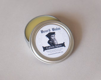 Beard Balm Spice Scent John Calvin Facial Hair Skin Moisturizer Essential Oil Scented Theologian Series One Ounce Tin Generational Goods