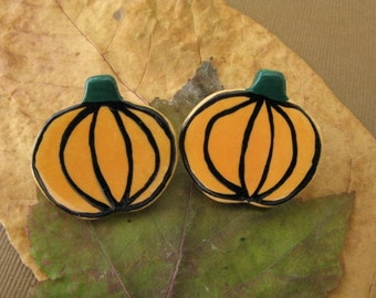 Orange Harvest Pumpkin Halloween Earrings Handmade Porcelain Jewelry