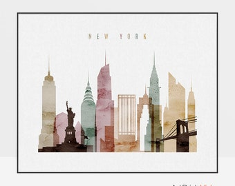 New York wall art, New York city watercolor poster, New York skyline art, cities poster, typography art, digital watercolor ArtPrintsVicky.