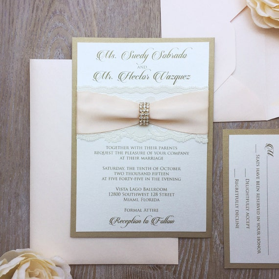 SUEDY - Glamour Lace Wedding Invitation - Blush and Gold Invitation with Ivory Lace and Gold Rhinestone Embellishment
