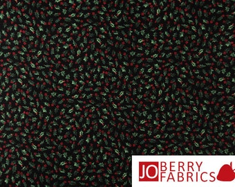 Christmas Joy Quilt or Craft Fabric by Blank Quilting, Small Holly on Black, By the Yard