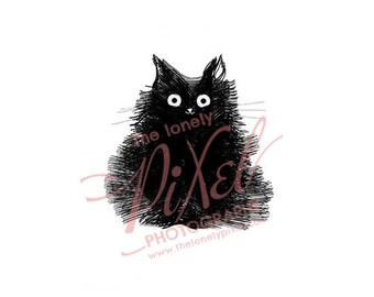 Black Cat Art Print Illustration Cute Cat Drawing White Pet Portrait - Duster