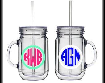Monogram Mason Jar Tumbler - 16 oz.