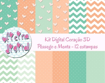 Heart Digital Paper - Coral and Mint