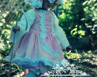 Little Bo Peep Costume, Boutique Little Bo Peep Storybook Character Inspired Costume Twirly Boutique Apron Dress & Lace Pantaloons Pageant
