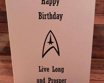 Star Trek Birthday Card Live long and Prosper Star Trek