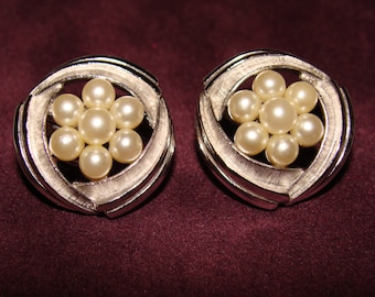Vintage Earrings Trifari costume jewelry Faux pearl earrings Clip on earrings FogartyTreasures