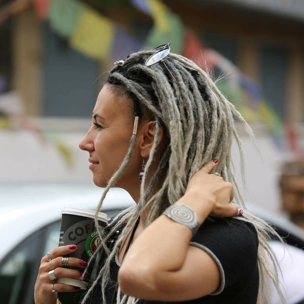 Grey And Ash Blonde Dreads With Black Top Ombre X10 Or Full